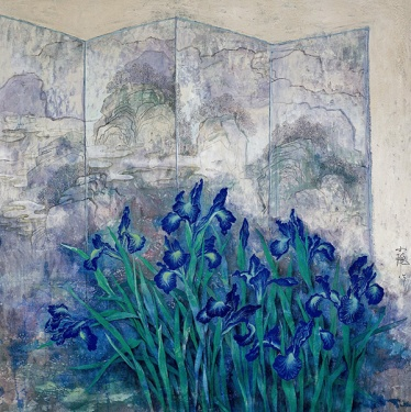 Blue irises by Cai Xiaoli